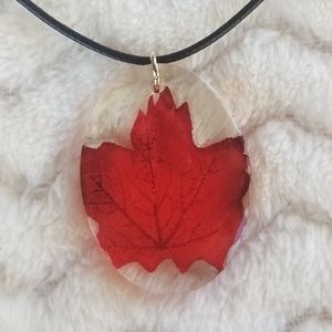 Autumn Leaf (Red) Necklace, Handcrafted NWOT